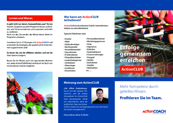 Aktuelle Broschüre von actionCOACH Business Coaching