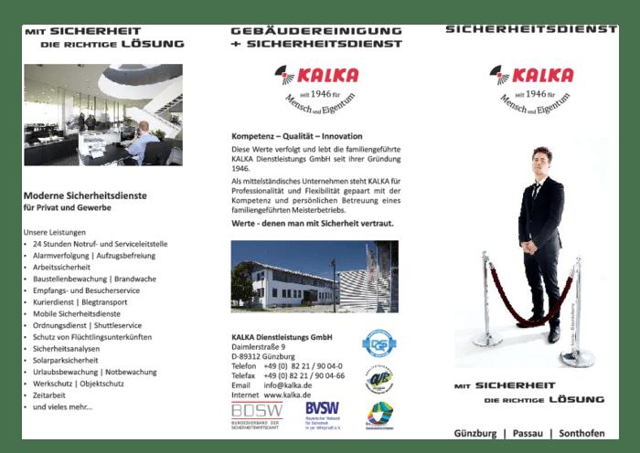 Aktuelle Broschüre von KALKA Sicherheit