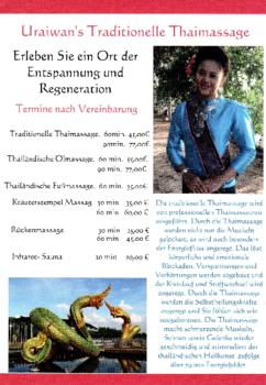 Aktuelle Broschüre von Uraiwans Traditionelle Thaimassage