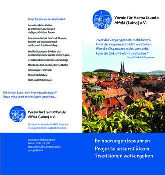 Aktuelle Broschüre von Verein für Heimatkunde
