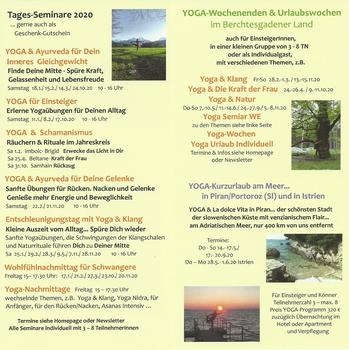 Aktuelles Prospekt von YogaHaus Berchtesgaden
