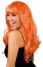 Perücke Party lange orange Haare Neu mit Ponny