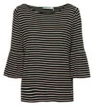Shirt *Ringel Volant, U-Boot 3/4, schwarz/weiß