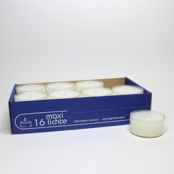 Teelichter 'Maxi' weiß, 16 Stück, transparente Hülle