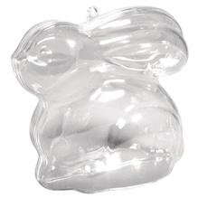 Plastik Hase 2-tlg., 9cm, sitzend, kristall