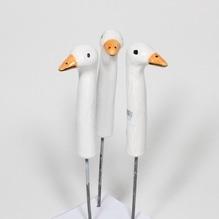 Keramik-Gans 3-er-Set, mit Metallstift, mini, weiß