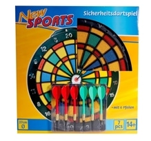New Sports Dartboard ''Safety'' inklusive 6 Pfeilen
