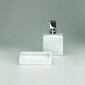 Stand-Seifenspender, Porzellan - weiß -