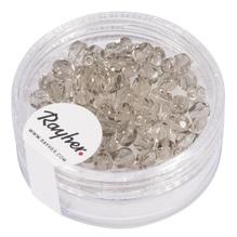 Glas Schliffperle, 4mm ø, Dose 100Stück, taupe transparent