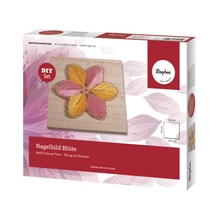 Bastelpackung: Nagelbild Blüte, 14x14x0,9cm, Box 1Stück