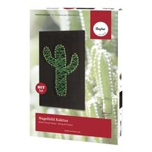 Bastelpackung: Nagelbild Kaktus, 12x20x0,9cm, Box 1Stück