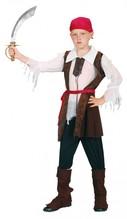 Pirat für Kinder, Blusenweste, Gürtel, Hose, Beinstulpen, Kopftuch