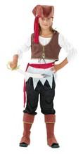 Piratin für Kinder, Bluse, Weste, Gürtel, Hose, Beinstulpen, Hut