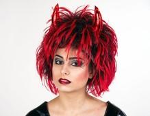 Teufel Perücke schwarz rot für Erwachsene Karneval