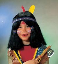 Indianer Perücke schwarz glatt schwarz Karneval Fasching