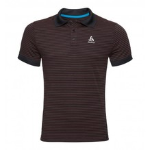 ODLO Herren Polo NIKKO DRY Farbe: black-fiery red-stripes 550062