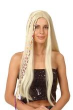 Perücke Happy girl blond Hippie Hippy mit Strähnchen