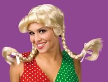 Perücke mit zwei Zöpfen blond Neu Karneval Fasching