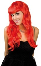 Perücke Party lange rote Haare Neu  mit Ponny