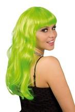 Perücke Party lange grün Haare Neu mit Ponny Hexe