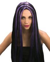 Perücke witch Hexe schwarz mit violetten Strähnen Neu Karneval Fasching