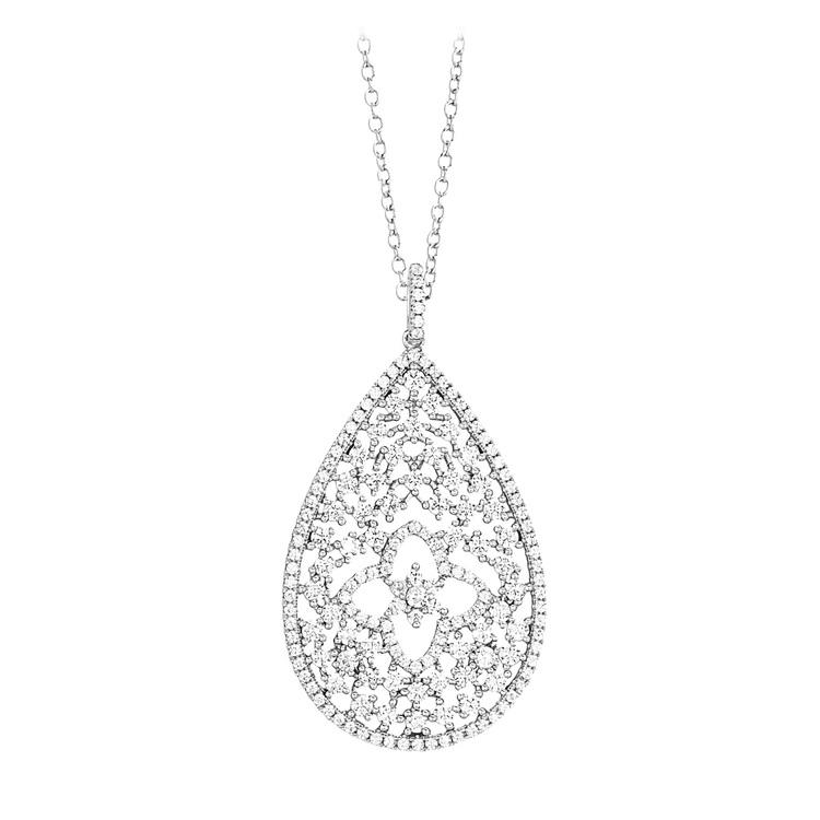 Mabina Gioielli -  Halskette Tropfen -  Sterling-Silber/rhodiniert mit Zirkonia