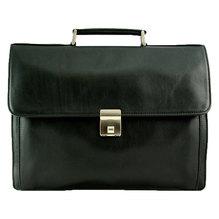 Leder Aktentasche mit Laptopfach aus Kalbleder schwarz 130810