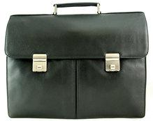 Große Leder Aktentasche mit Laptopfach aus Kalbleder schwarz 136410