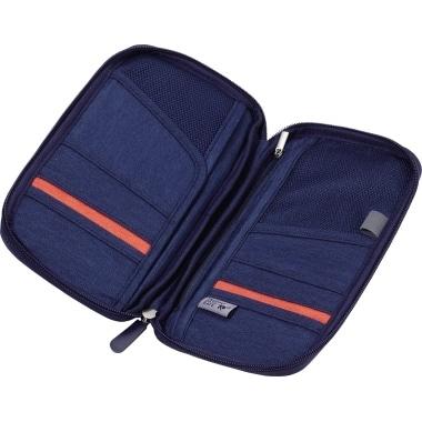 TROIKA Reiseetui SAFE FLIGHT TRV20/DB RFID PES dunkelblau/orange