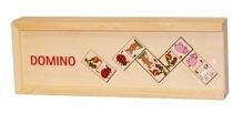 Domino aus Holz Tiermotive im Holzkasten