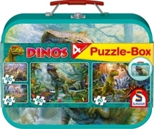 Puzzle-Box im Metallkoffer, Dinos, Puzzle-Box, 2x60, 2x100 Teile
