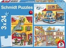 Kinderpuzzle 3 x 24 Teile, Feuerwehr und Polizei, 3x24 Teile