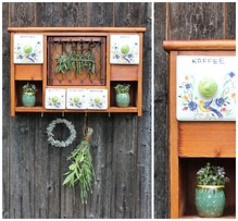 Küchenschrank, Wandschrank, Hängeschrank, Aufbewahrung, Schränkchen, Kräuterschrank, Vintage, Holz