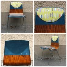 Stuhl, Küchenstuhl, Holzstuhl, Polsterstuhl, Pagholzstuhl, Stapelstuhl, Schulstuhl, Vintage, Retro, upcycled, aufgearbeitet, 60er, 70er