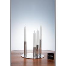 RONDA Kerzenleuchter Set, Edelstahl poliert und gebürstet, H 15 cm, Ø 22 cm, ohne Kerzen