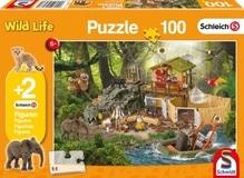 Schmidt Spiele Kinderpuzzle Schleich Forschungsstation Croco, 100 Teile