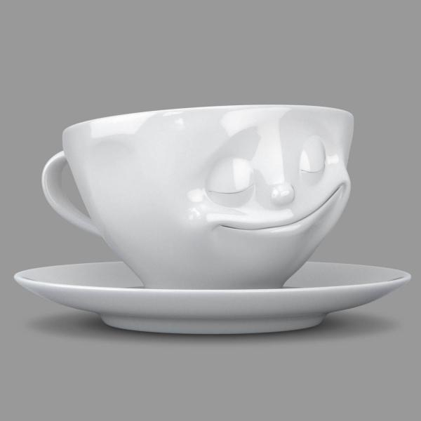 Kaffeetasse 'glücklich' weiß 200 ml, 58-Products 014301