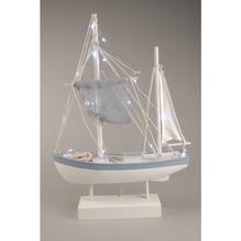 Holzschiff, Deko-Kutter, Schiffchen mit LED-Lichtern