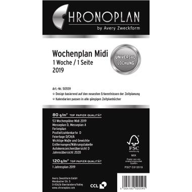 Chronoplan Wochenplan Midi 2019 50559 1W/1S horizontal