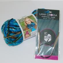 Jungle 1 Loopschal = 1 Knäuel Farbe 'aqua color' mit Rundstricknadel