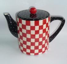 eekanne im Retro Design mit Karo Dekor (rot/weiß)
