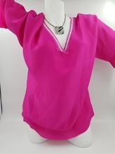 iSilk Bluse pink oder weiß mit weiten Ärmeln, V-Ausschnitt silber bei Mode Schönleitner in Gmunden, 30% Seide 70% Viskose