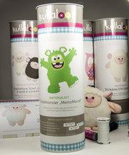 kullaloo - Näh-Set / Materialset zum Selber machen: Zottel Monster 'MemoMonsti' inkl. Schnittmuster in grün als Jungs - Variante in schicker Dose