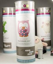 "kullaloo - Nähset / Stoffpaket zum Selber machen: Kuscheltier Eule Lou"" in rosa/pink mit Retro Dots inkl. Schnittmuster und Nähanleitung in schicker Dose"
