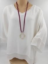 iSilk Bluse ivory creme weiß mit silbernen Details am Ausschnitt bei Mode Schönleitner in Gmunden