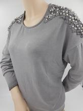 St. Barth Pulli Shirt grau mit Perlen und Bestickung bei Mode Schönleitner in Gmunden