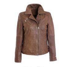 Modell Cloe, kurze Damenlederjacke im Bikerstyl, Farbe cuir, bei Lederbekleidung Paschinger kaufen
