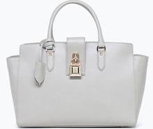 Lederhandtasche mit Schulterriemen light grey Patrizia Pepe