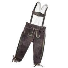 Kniebund-Lederhose inklusive Hosenträger, sämisch gegerbtes Leder vom einheimischen Hirsch, Farbe ruß, Maschinenstickerei grün, industrielle Fertigung, bei Lederbekleidung Paschinger kaufen.
