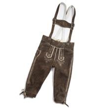 Kniebund-Lederhose inklusive Hosenträger, sämisch gegerbtes Leder vom einheimischen Hirsch, Farbe erle, Maschinenstickerei, industrielle Fertigung, bei Lederbekleidung Paschinger kaufen.